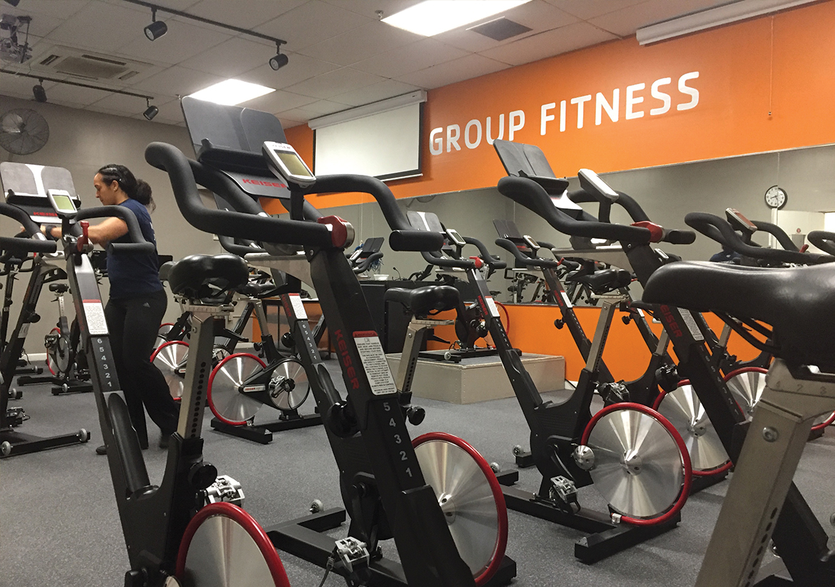 Group Fitness room filled with spin bikes